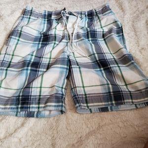 Gap Mens Blue and White Plaid Board Shorts S